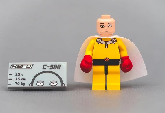 One Punch Man Outside Brick Custom Minfigure